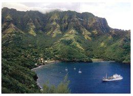 (41) French Polynesia - Tahuata Island And Aranui Ship In Bay (with Bora Bora Stamp) 2015 - Polynésie Française
