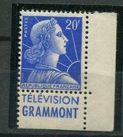 France ** N° 1011  Type I - CDF   Marianne De Muller  - Pub - Télévision Grammont - Advertising