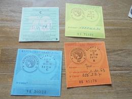 Vignette  Automobile Lot De 4   1967-  70-  71- 79-  Tabac LOUHANS  C Michel  A Gaudillat - Revenue Stamps