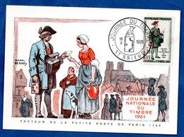 Carte Premier Jour  / Facteur De La Petite Poste De Paris 1760 / Saint Brieuc  /  18-03-1961 - 1960-69