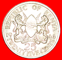 # WITHOUT LEGEND: KENYA ★ 25 CENTS 1966 UNCOMMON! LOW START ★ NO RESERVE! Mzee Jomo Kenyatta (1964-1978) - Kenya