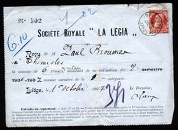 A5526) Belgien Belgium Dokument Mit Marke Liege 29.5.1907 - 1905 Breiter Bart