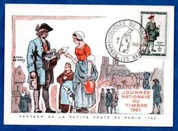 Carte Premier Jour  / Facteur De La Petite Poste De Paris 1760 / Thonon Les Bains  /  18-03-1961 - Maximumkarten