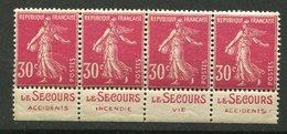 France ** N° 191  - Semeuse  - Pub Le Secours - Bde De 4 - Reclame