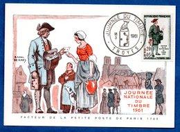 Carte Premier Jour  / Facteur De La Petite Poste De Paris 1760 / Troyes  /  18-03-1961 - Maximumkarten