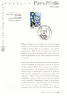 France 2007 Notice Philatélique Premier Jour Pierre Pflimlin Homme Politique Politicien Président Parlement Européen - France