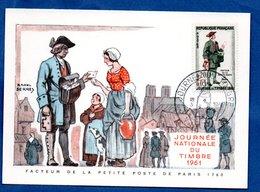 Carte Premier Jour  / Facteur De La Petite Poste De Paris 1760 / Vienne /  18-03-1961 - Maximumkarten