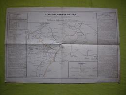 Carte De Chemin De Fer 19ème De Paris à La Frontière D'Allemagne 30 X 50 Cm - Europe