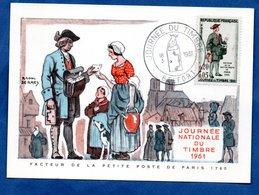 Carte Premier Jour  / Facteur De La Petite Poste De Paris 1760 / Belfort /  18-03-1961 - Cartes-Maximum
