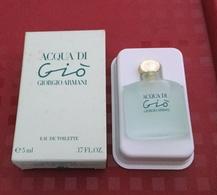 """Miniature """"AQUA DI GIO"""" De GIORGIO ARMANI Eau De Toilette 5 Ml Dans Sa Boite (M076) - Miniatures Men's Fragrances (in Box)"""