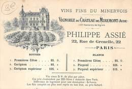 CARTE PUBLICITAIRE VIGNOBLE DU CHATEAU DE MIREMONT AUDE VINS FINS DU MINERVOIS - Advertising