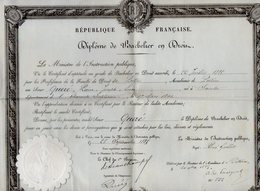 VP12.262 - PARIS X POITIERS 1885 - Diplôme De Bachelier En Droit - Mr QUERE Né à SAINTES - Partitions Musicales Anciennes