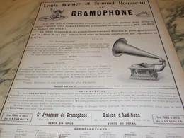ANCIENNE PUBLICITE  GRAMOPHONE LOUIS DIEMER ET SAMUEL ROUSSEAU   1904 - Other