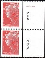 France Roulette N° 4240 ** Marianne De Beaujard, N° Verso à Gauche, TVP Rouge Gommé En Paire - Bonnet Phrygien. - Rollen