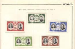 Monaco PO 1956  Comm.Matrimonio Ranieri E Grace    Scott.366/370+ See Scan On Album Page - Monaco