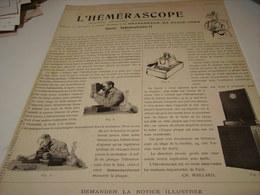 ANCIENNE PUBLICITE APPAREIL L HEMERASCOPE 1899 - Other