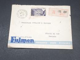 TUNISIE - Enveloppe Commerciale De Tunis En Recommandé Pour Medjez El Bab En 1956 - L 19319 - Tunisia (1956-...)