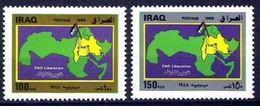 IRAQ Liberation Of Fao & Palestine Map 1988 Set Saddam Hussein Era Sc# 1357 MH - Iraq