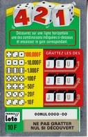 1 TICKET 421 FRANCE LOTO FDJ PETIT SPÉCIMEN NEUF DE DÉMONSTRATION POUR VITRINE NON GRATTE 7,7X12cm - NOTRE SITE Serbon - Billets De Loterie