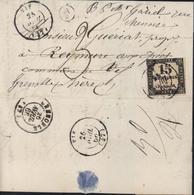 Taxe Carré YT N° 3B CAD  VIF (37) 1866 Taxe Manusc 3, Boite Rurale Supplémentaire A/2 : Genevrey, Réexpédition, Isère - Taxes