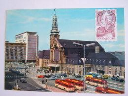 Luxembourg Gare Centrale Et Bâtiment Du C.F.L. Bus Auto Animée Circulée 1979 Timbre Yv 936 Edit Messageries Kraus - Luxemburg - Stad