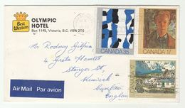 1981 CANADA Illus ADVERT COVER Best Western OLYMPIC HOTEL To GB Multi Art Stamps Fdc - 1952-.... Reign Of Elizabeth II