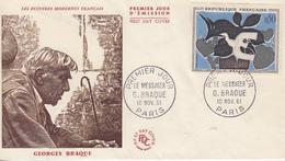Enveloppe  FDC  1er  Jour  FRANCE   Oeuvre  De   Georges   BRAQUE   1961 - 1960-1969