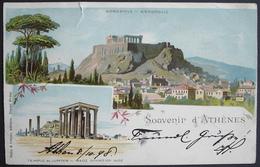 LITHO Souvenir D'ATHENES Gel. 1898 N. Neuchâtel Switzerland - Grèce