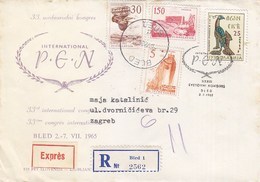 Yugoslavia Registered + Express Cover Bled 1965 TPO Railway Bahnpost Postmark Ljubljana-Beograd 12 - 1945-1992 Socialist Federal Republic Of Yugoslavia