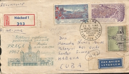 M) 1962, CZECHOSLOVAKIA, AIR MAIL, PRAGUE AND BRATISLAVA CITY, FLAGS OF THA WORDL, - Czechoslovakia