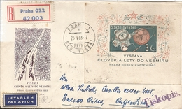 M)1963, CZECHOSLOVAKIA, AIR MAIL, SPECIAL EDITION POSTAL STAMP , SATELLITE IN SPACE, AND THA WORLD, CIRCULATED COVER FRO - Czechoslovakia