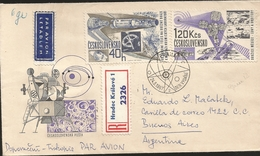 M) 1967, CZECHOSLOVAKIA, AIR MAIL,REGISTERED MAIL, SPACE SATELLITE IN THE ORBIT OF THE MOON, SPACIAL STATION, CIRCULATED - Czechoslovakia