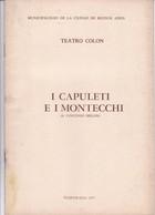 I CAPULETI E I MONTECCHINO, VICENZO BELLINI. TEATRO COLON 1971 PROGRAMA COMPLETO-BLEUP - Programmes