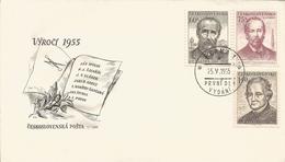 L) 1955 CZCEHO-SLOVAKIA, JAN HOLLY, POET, JOSEF VACLAV SLADEK, 60H, AS POPOV, 75H, FDC - FDC