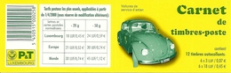 LUXEMBURG, 2001, Booklet 15, Volkswagen - 2 CV, 6x3,6x18 - Carnets