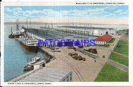 94737 PANAMA ZONA DEL CANAL CRISTOBAL PIERS 7 AND 8 SHIP & RAILROAD POSTAL POSTCARD - Panama