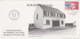 Carte   FRANCE   Inauguration  Bureau  De   Poste   De   SORMERY   (89)    1981 - Poste