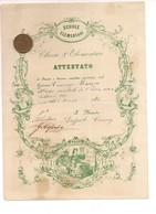 7553 Attestato Scuola Elementari Pagella 1872 GIULIANA Palermo Liberty Figurato - Vecchi Documenti