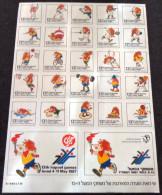 ISRAEL 1987 - 13th HAPOEL GAMES - SHEET - STICKER / AUTOCOLLANT - BASKET / FOOTBALL / JUDO / TENNIS / VOLLEY / FENCING - Sport