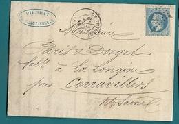 Vosges - Le Thillot Pour La Longine Près Carravillers (Haute Saone). GC + CàD Type 17 - 1849-1876: Période Classique