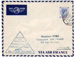 Lettre Par Avion De Victoria, Hong Kong (10.03.1939) Pour Saigon_Air France Ouverture Trafic Postal Hanoi - Hong Kong (...-1997)