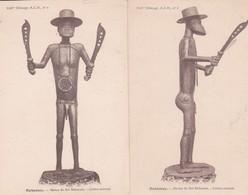 Lot 2 Cpa DAHOMEY . Statue Du Roi Béhanzin ( Face Et Profil) En Cuivre Martelé - Dahomey
