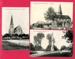 LOT DE 3 CPA (Réf : (A547)  VILLENEUVE-le-COMTE (77 SEINE-et-MARNE) L'Obélisque, L'Église - France
