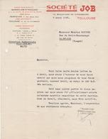 Facture Lettre (1946) - Sté JOB Papier à CIGARETTES - TOULOUSE - France