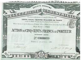 Ancienne Action - Société Anonyme D'Electricité Industrielle  - Titre De 1891 - Electricité & Gaz