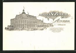 Lithographie Anvers, Hotel Weber - Belgique