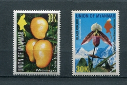 MYANMAR BIRMA BURMA 2004 Mi # 362 - 363 FLORA MANGO And ORCHID MNH - Myanmar (Burma 1948-...)