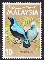 Malaysia SG 21 1965 Birds, 30c Blue-backed, Bluebird, Mint Never Hinged - Malaysia (1964-...)