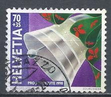 Switzerland 1998. Scott #B634 (U) Christmas, Bell, Holly On Ribbon * - Pro Juventute