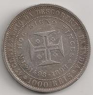 Moeda Portugal 1000 Reis 1898 - D. Carlos I - Prata - IV Centenário Descoberta Caminho Maritimo India - MBC + - Silver - Portugal